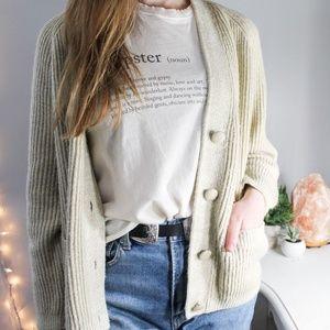 Sweaters - COZY OATMEAL BOYFRIEND KNIT CARDIGAN